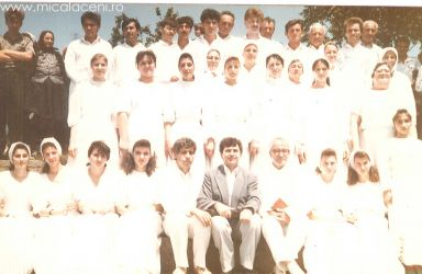 Mestecanis 25 Iulie -1993 Candidatii la Botez in raul Mures- Borlovan Cornel Micurescu Eugen si Fedur Samuel
